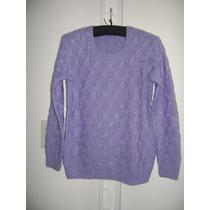 Sweater Lila Tejido A Mano De Lana C/redondo Nuevo Talle M