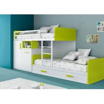 Dormitorio Infantil, Camas Desplazadas + Cama Deslizante