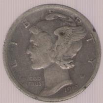 Estados Unidos Usa 1 Dime 1919 Exc-
