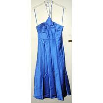 Vestido Fiesta Largo Azul Francia Raso Seda Strapless T.s