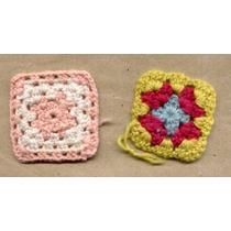 Lote 4 Cuadraditos Tejidos Crochet P/aplicar Olivos $ 40