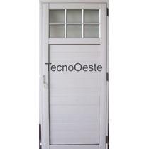 Puerta Exterior Aluminio Blanco 1/4 Vidrio Repartido 80x200