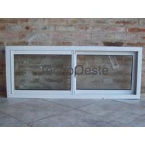 Ventana Aluminio Blanco Epoxy Vidrio Entero 150x60 C/vidrios