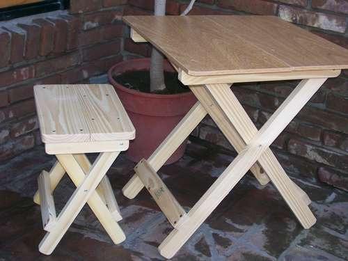 Banqueta banco silla mesa plegable de madera som - Como hacer una mesa plegable ...