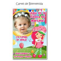 Cumpleaños Frutillitas: Cartel De Bienvenida Personalizado