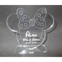 Souvenir Acrílico Cumpleaños Minnie, Con Nombre Grabado