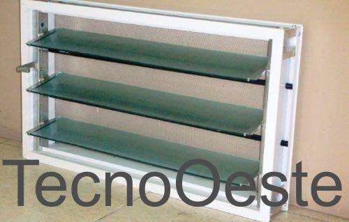 Ventiluz Baño Medidas:Ventiluz Aluminio Blanco 60×36 Con Vidrio Reja Mosquitero