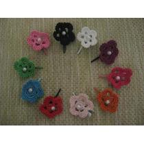 Mini Flores Tejidas Al Crochet Con Ganchito Para El Pelo