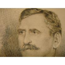 Retrato Tinta Y Lapiz Personaje De Epoca Circa 1900