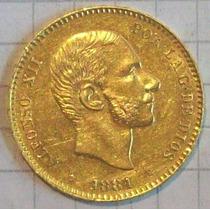 España 25 Pesetas Oro 1881 Alfonso Xii Excelente Y Rara