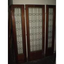 Puerta Juego De Tres De Cedro Con Vitroux Ingles Antiguas