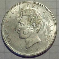 Ecuador 5 Sucres Plata Sin Circular 1944
