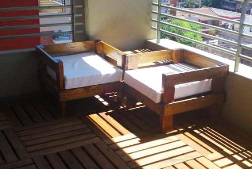 Sillones ideal balcon exterior madera muebles jardin for Sillones de balcon