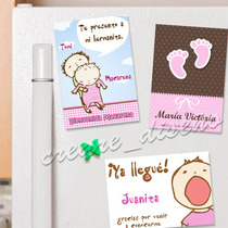 10 Souvenirs De Nacimiento Imanes Personalizados Beba Nena