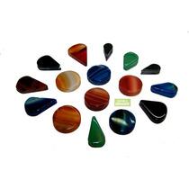 Piedras Semi Preciosas Agatas Ranuradas X 10 Unid Roladas