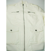 Campera Blanca New Look Cuello Alto Rib Talle M