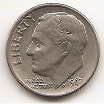 Moneda Estados Unidos De One 1 Dime 10 Centavos Año 1967 #2