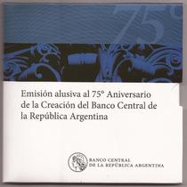 Argentina, Blister Moneda De 2 Pesos, 75 Años Banco Central