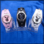 Reloj Con Conejito De Play Boy Malla Blanca Negra Y Rosa.