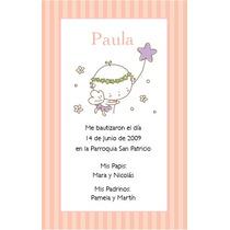 Estampitas De Bautismo Ilustradas Personalizadas Para Nena