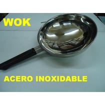 Wok Acero Inox 22 Cm Sarten Paella Guiso Fritas Salsa Cocina