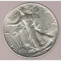 Estados Unidos Usa 1/2 Dolar 1945 Plata S/c