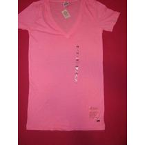 Victorias Secret Remera Pink Escote V Xs Alice Sale New!!!
