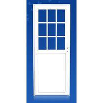 Puerta Aluminio Blanca 1/2 Vidrio Repartido 070*200