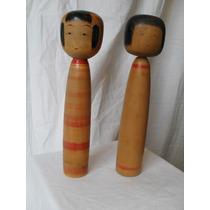 Dos Muñecos De Madera Objetos De Diseño Japonés