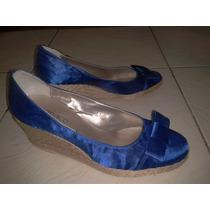 Zapatos Azules Taco Chino N°37