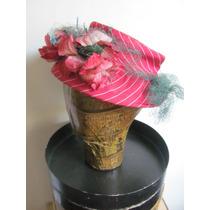 Sombrero Rayado Con Flores Artificiales