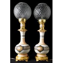 Par Lámparas Alemanas A Kerosene Porcelana Y Bronce