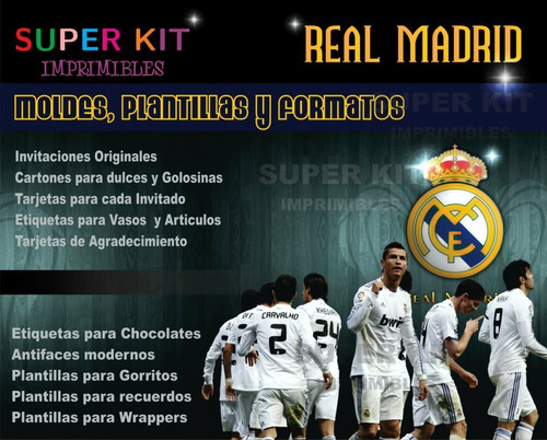 Super Kit Imprimible Real Madrid Invitaciones Personalizadas