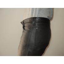 Pantalon De Cuero Hombre Moto Corte Levis