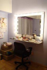 Espejos con luces 70 x 60 con pie maquillaje todoespejos - Espejo tocador con luces ...
