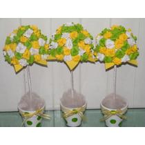 Topiarios Con Flores De Goma Eva, Maceta Nro. 8
