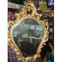 Antiguo Espejo Frances Dorado A La Hoja