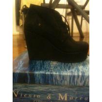 Zapatos Viento Y Marea Cuero Negro
