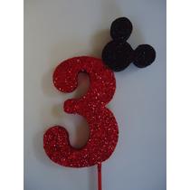Nº 3 De Mickey Para Decoración De Torta De Cumpleaños.