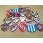 Escudos De Futbol Sobre Base De Madera