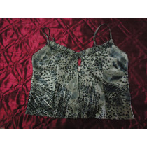 Top Corto Roberto Piazza Original Animal Print Seda Talle 1
