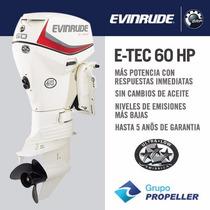 Motor Nautico Fuera De Borda Evinrude E-tec 60hp 5 Años Gtia