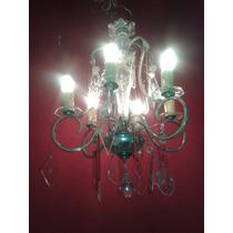 Hermosa Araña Antigua Holandesa De Bronce 6 Luces Caireles