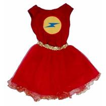 Disfraz Flash Nena Artesanal Talle 7 / 8 Años Env S/c Caba