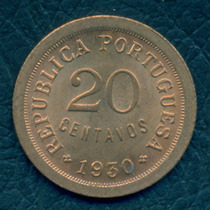 Moneda Cabo Verde 1930 20 Centavos Km#3