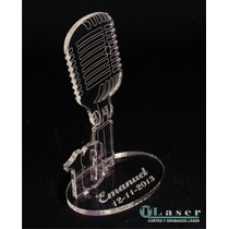 Souvenir Acrilico Microfono18 Años Con Nombre Grabado