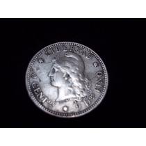Moneda Plata 20 Centavos Patacón 1882 C/rot.cuño En 20 Ebc