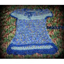 Vestido Tejido A Crochet - Lana Gruesa Y Algo De Brillo