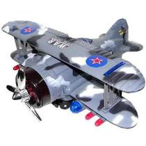 Avion Guerra Biplano Luz Sonido Movimiento Gira 360° Eleva