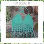 Top Tejido Crochet Flecos Largo Malla Bikini Colores